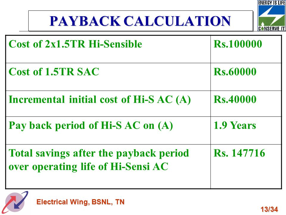 PAYBACK CALCULATION Cost of 2x1.5TR Hi-Sensible Rs.100000