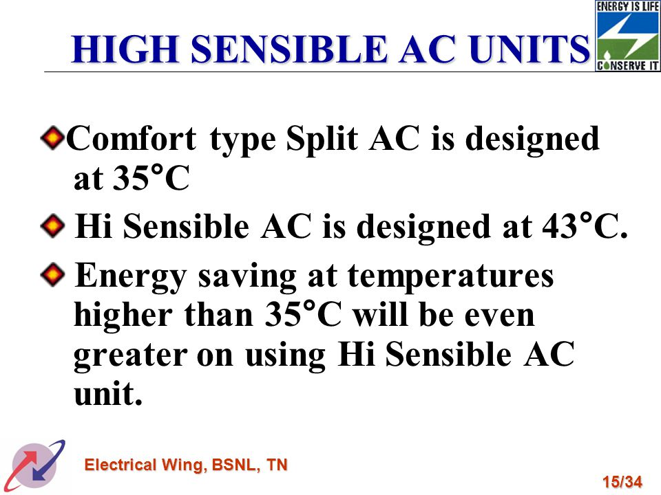 HIGH SENSIBLE AC UNITS Comfort type Split AC is designed at 35°C