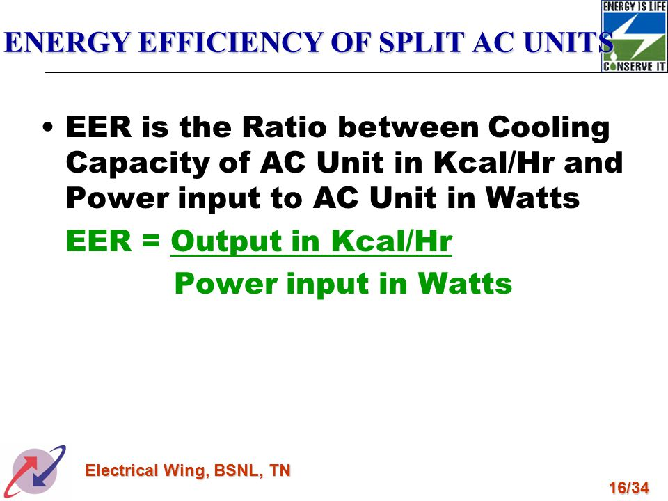ENERGY EFFICIENCY OF SPLIT AC UNITS