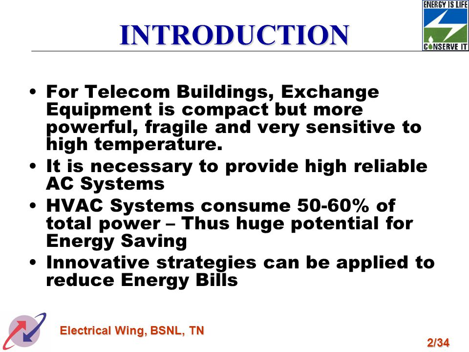 INTRODUCTION For Telecom Buildings, Exchange Equipment is compact but more powerful, fragile and very sensitive to high temperature.