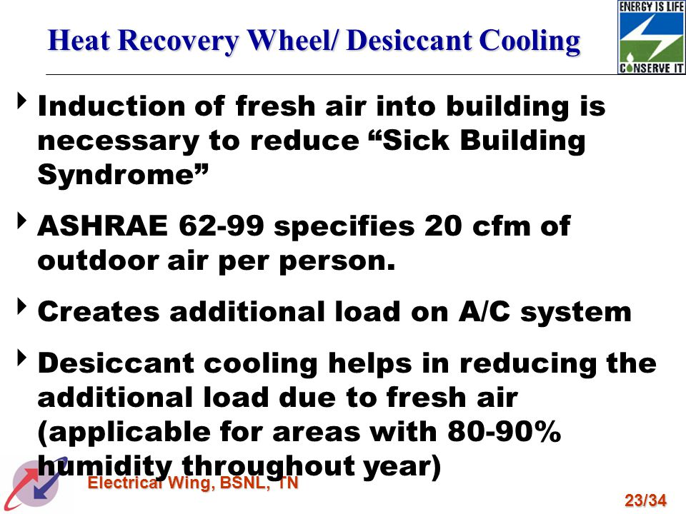 Heat Recovery Wheel/ Desiccant Cooling