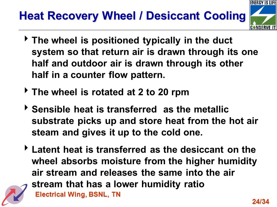 Heat Recovery Wheel / Desiccant Cooling
