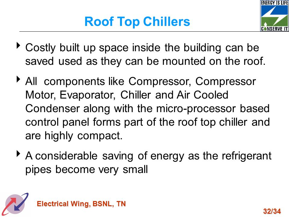 Roof Top Chillers Costly built up space inside the building can be saved used as they can be mounted on the roof.