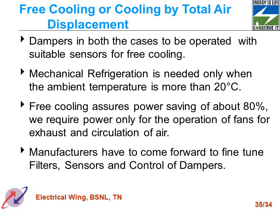 Free Cooling or Cooling by Total Air Displacement