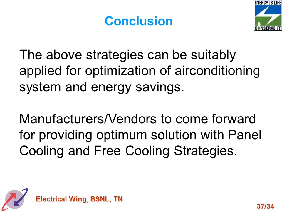 Conclusion The above strategies can be suitably applied for optimization of airconditioning system and energy savings.