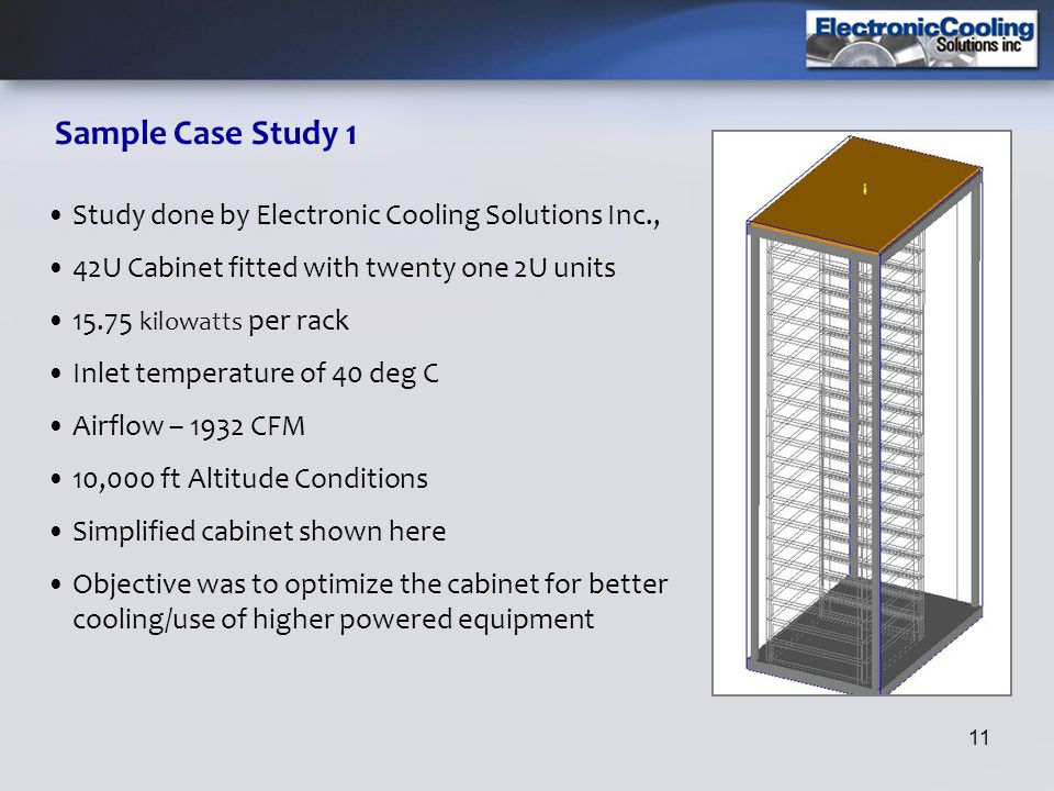 Sample Case Study 1 Study done by Electronic Cooling Solutions Inc.,
