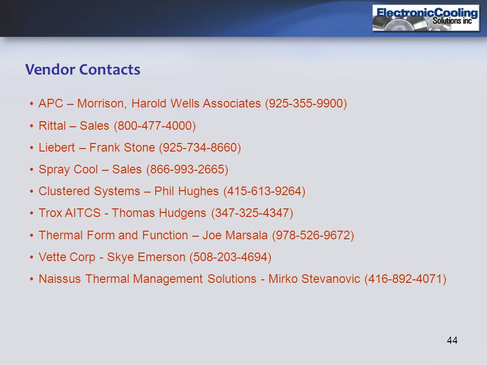 Vendor Contacts APC – Morrison, Harold Wells Associates (925-355-9900)