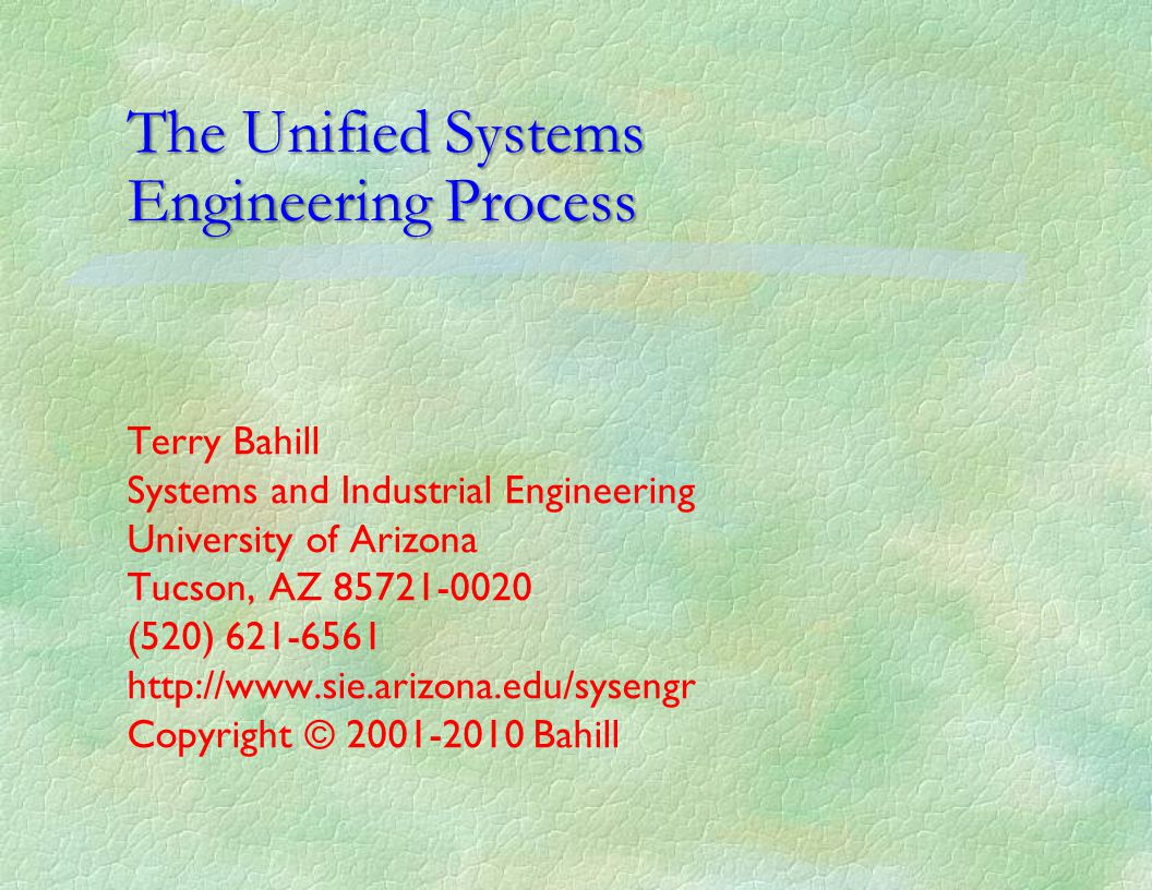 The Unified Systems Engineering Process