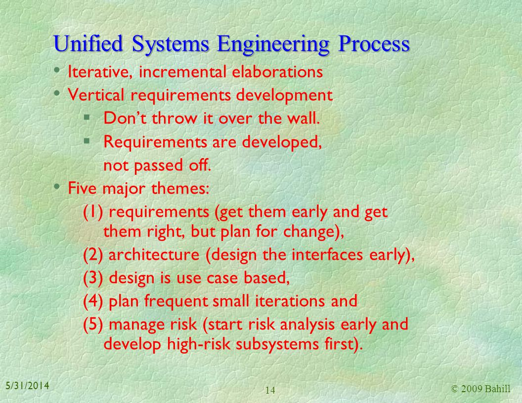 Unified Systems Engineering Process
