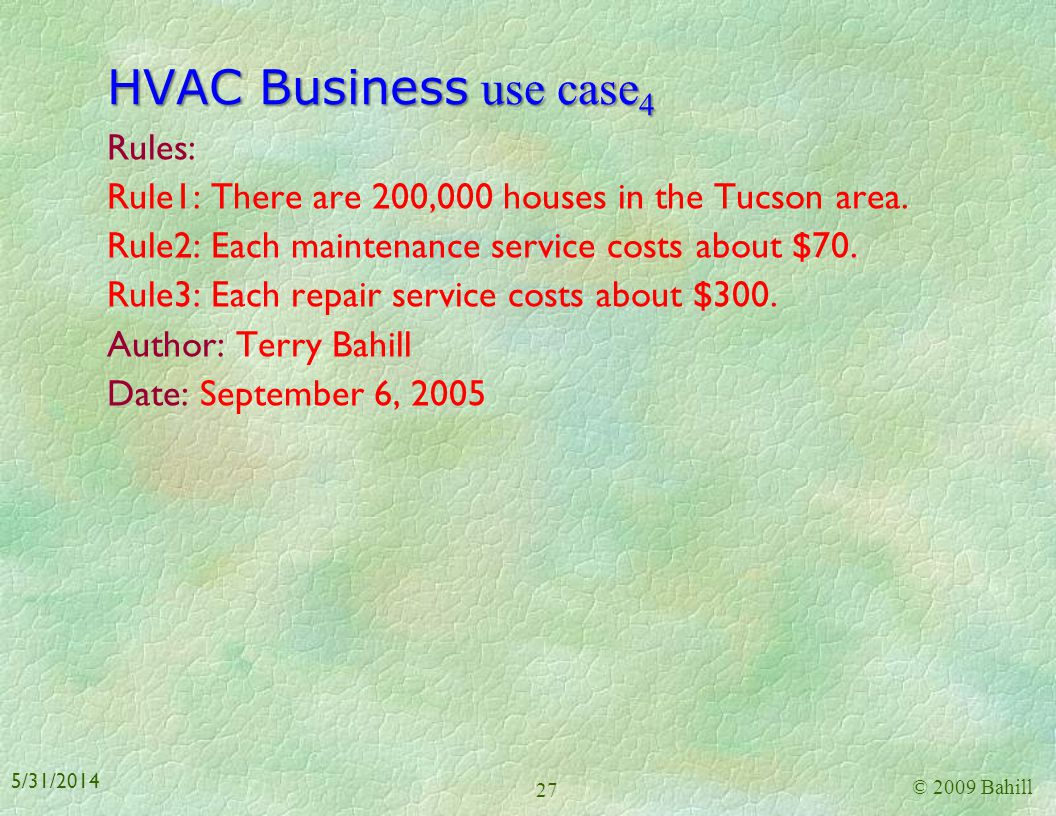 HVAC Business use case4 Rules: