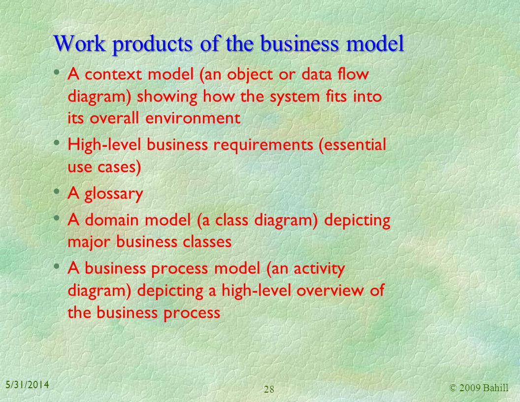 Work products of the business model
