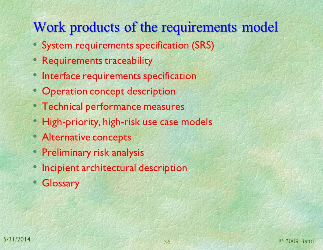 Work products of the requirements model