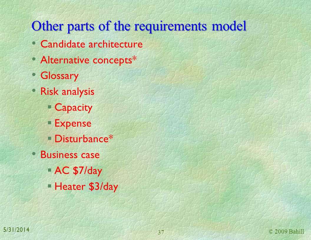 Other parts of the requirements model