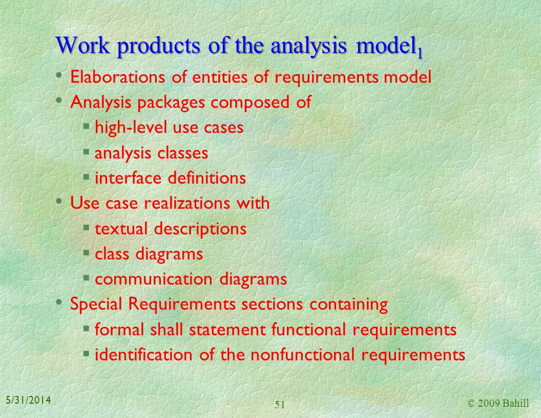 Work products of the analysis model1