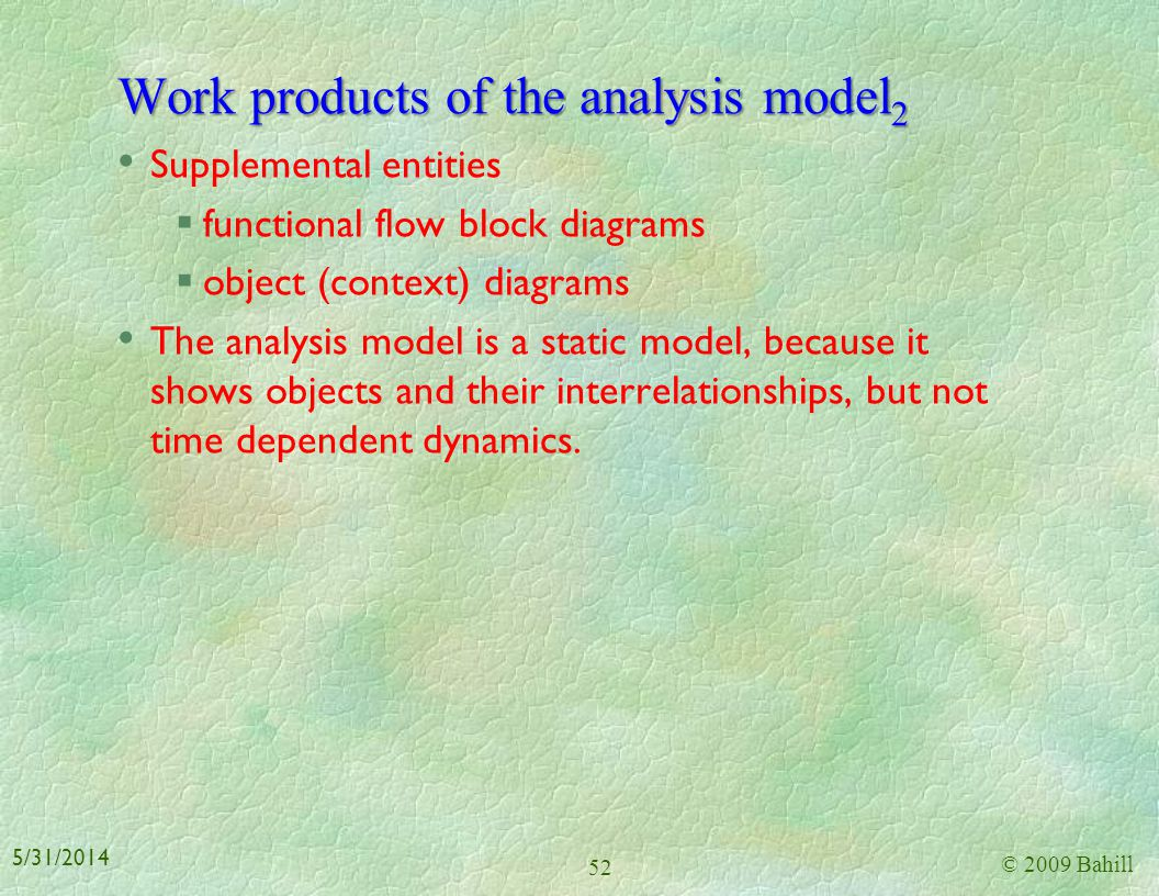 Work products of the analysis model2