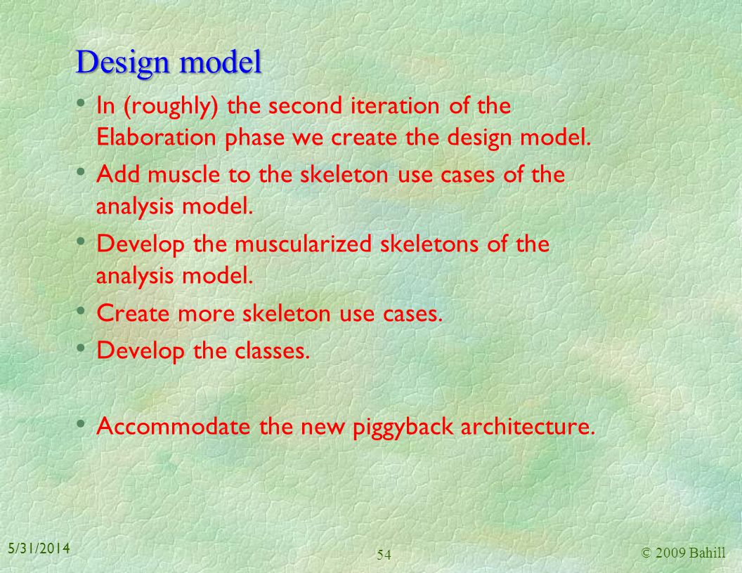 Design model In (roughly) the second iteration of the Elaboration phase we create the design model.