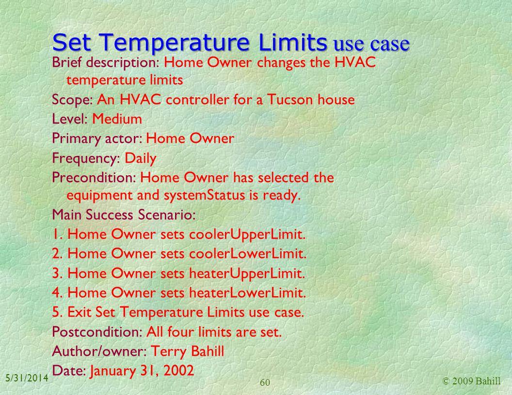 Set Temperature Limits use case