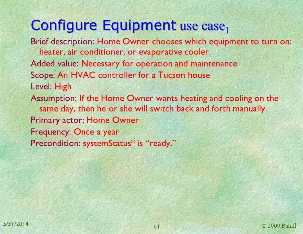Configure Equipment use case1