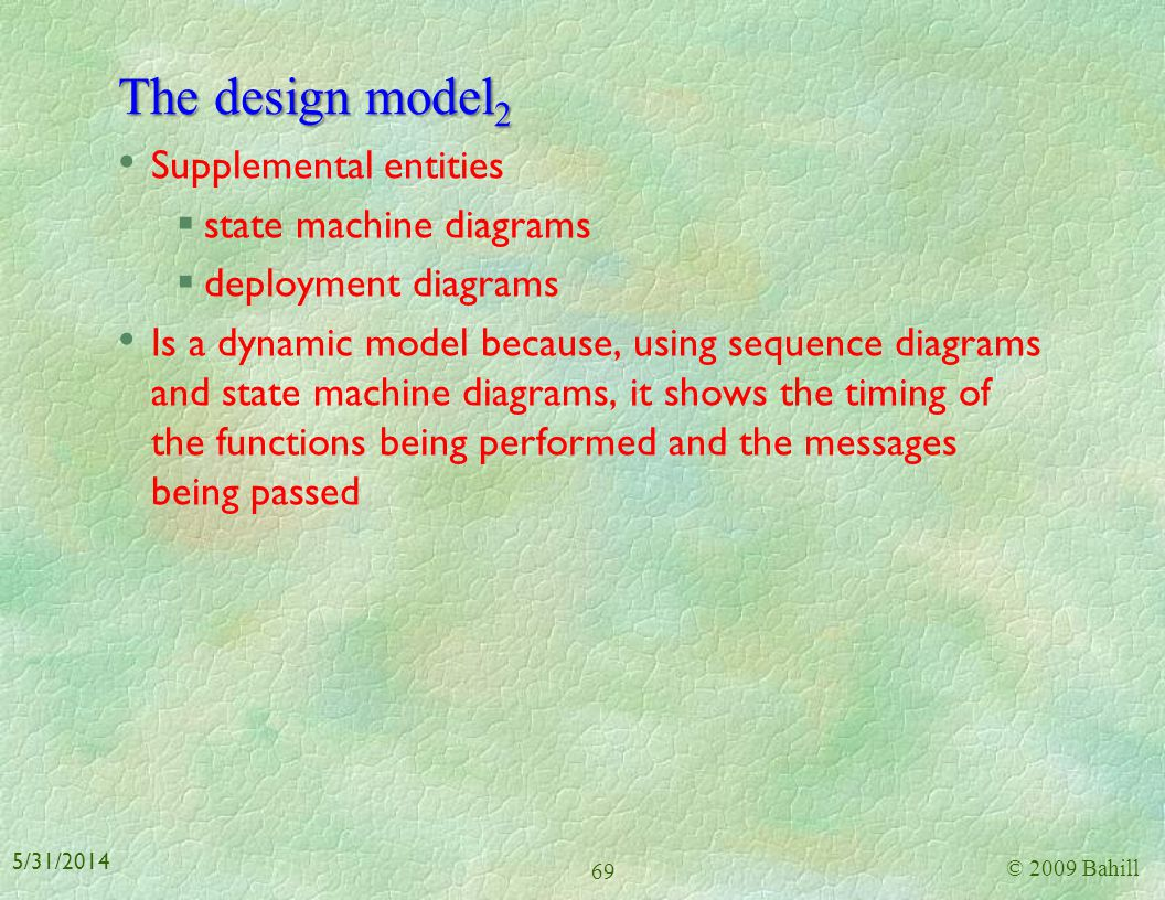 The design model2 Supplemental entities state machine diagrams
