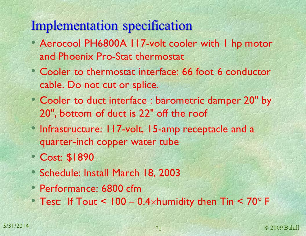 Implementation specification