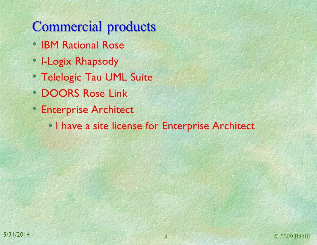 Commercial products IBM Rational Rose I-Logix Rhapsody