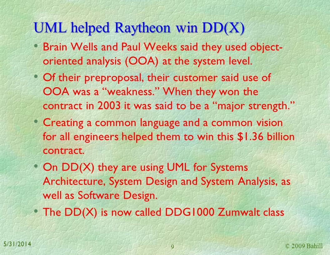 UML helped Raytheon win DD(X)