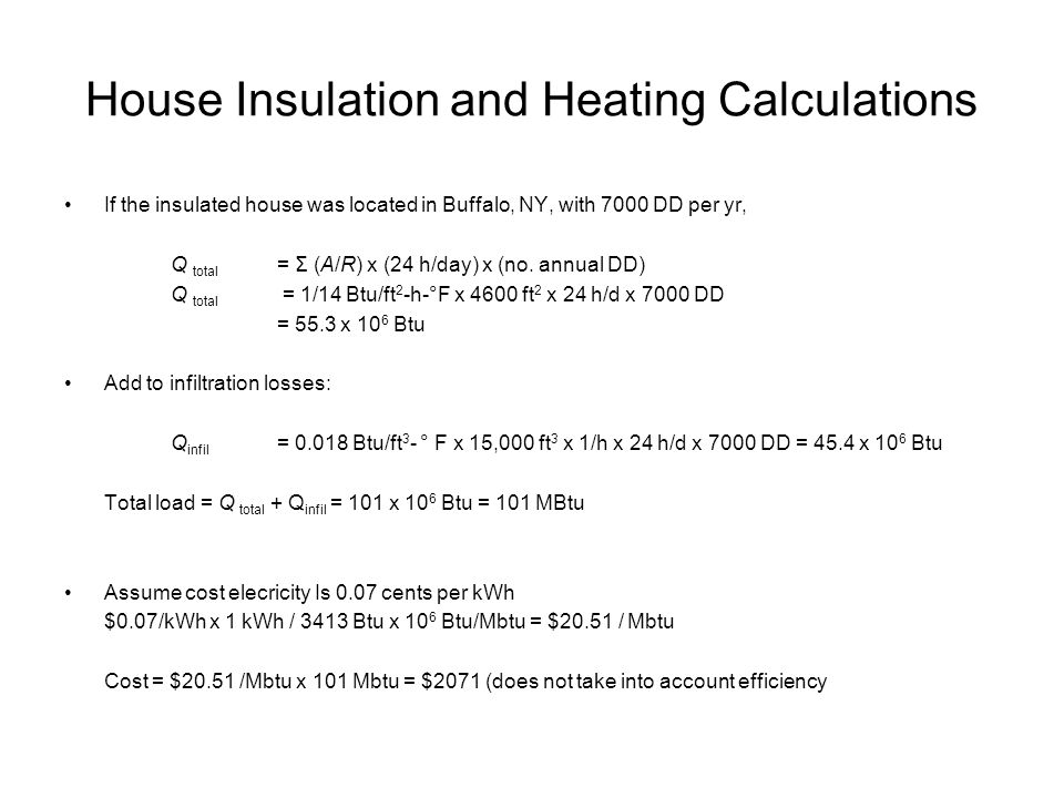 House Insulation and Heating Calculations