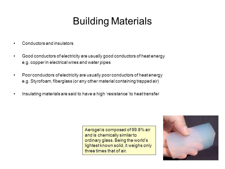 Building Materials Conductors and insulators