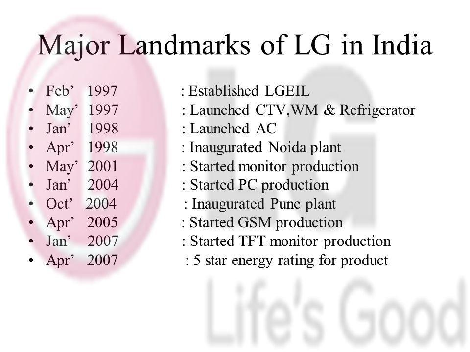 Major Landmarks of LG in India