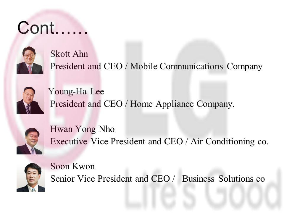 Cont…… President and CEO / Mobile Communications Company Young-Ha Lee