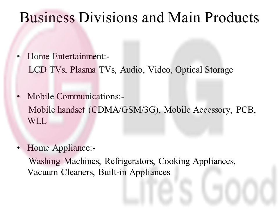 Business Divisions and Main Products