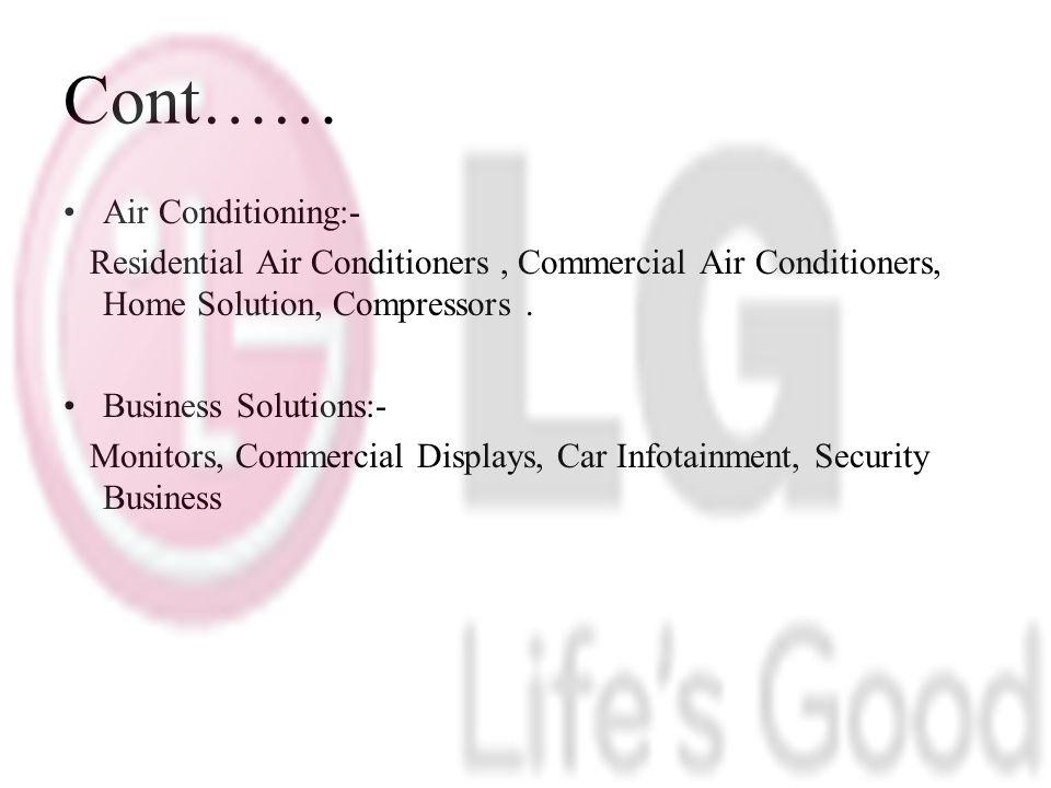 Cont…… Air Conditioning:-