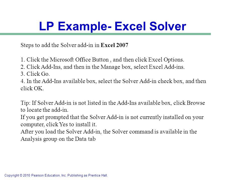 LP Example- Excel Solver