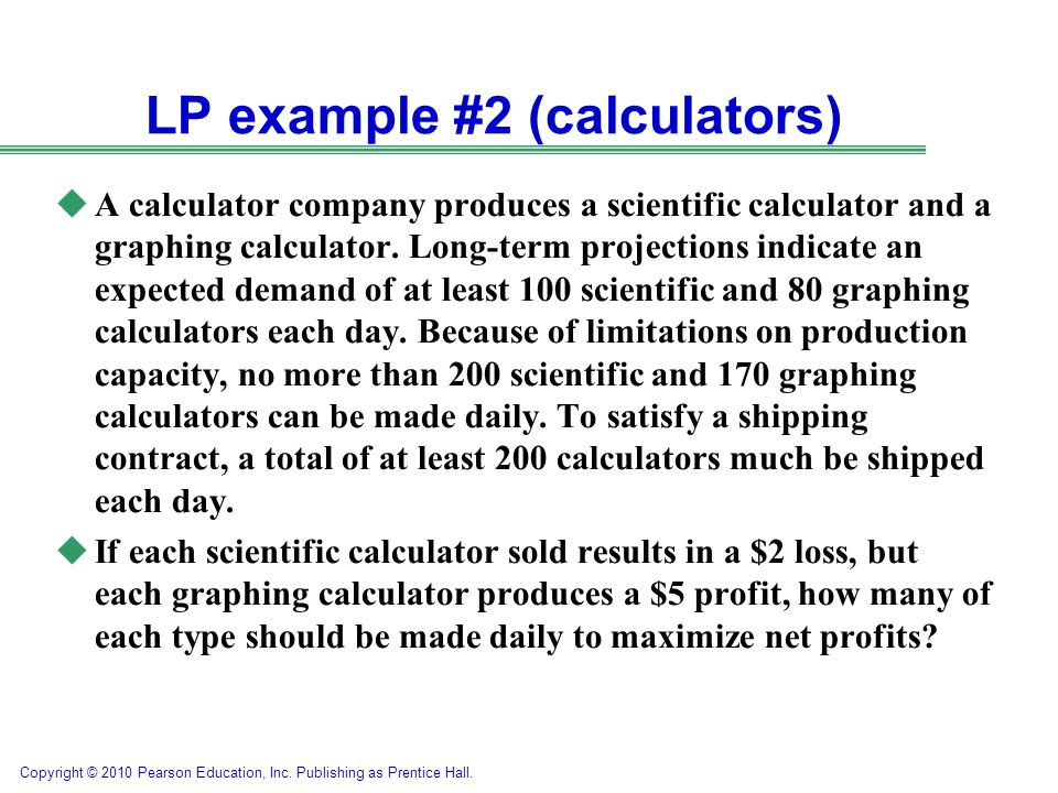 LP example #2 (calculators)