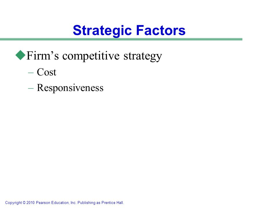 Strategic Factors Firm's competitive strategy Cost Responsiveness