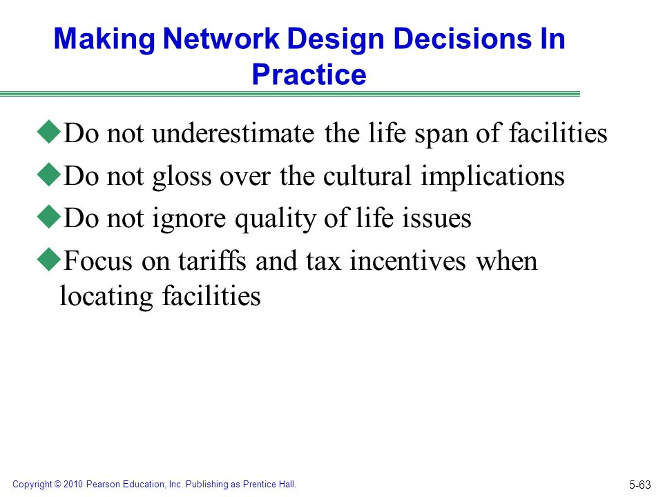 Making Network Design Decisions In Practice
