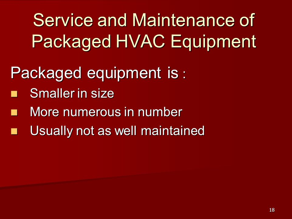 Service and Maintenance of Packaged HVAC Equipment
