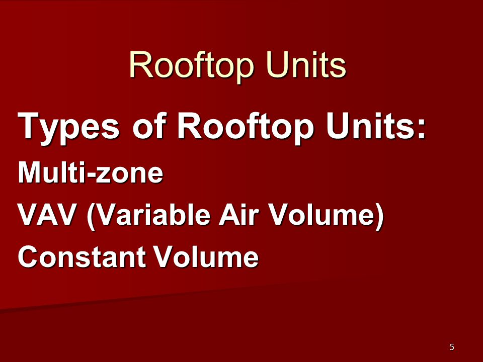 Types of Rooftop Units: