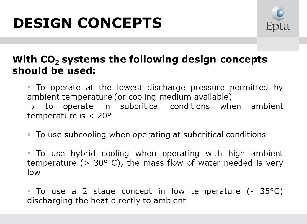 DESIGN CONCEPTS With CO2 systems the following design concepts should be used: