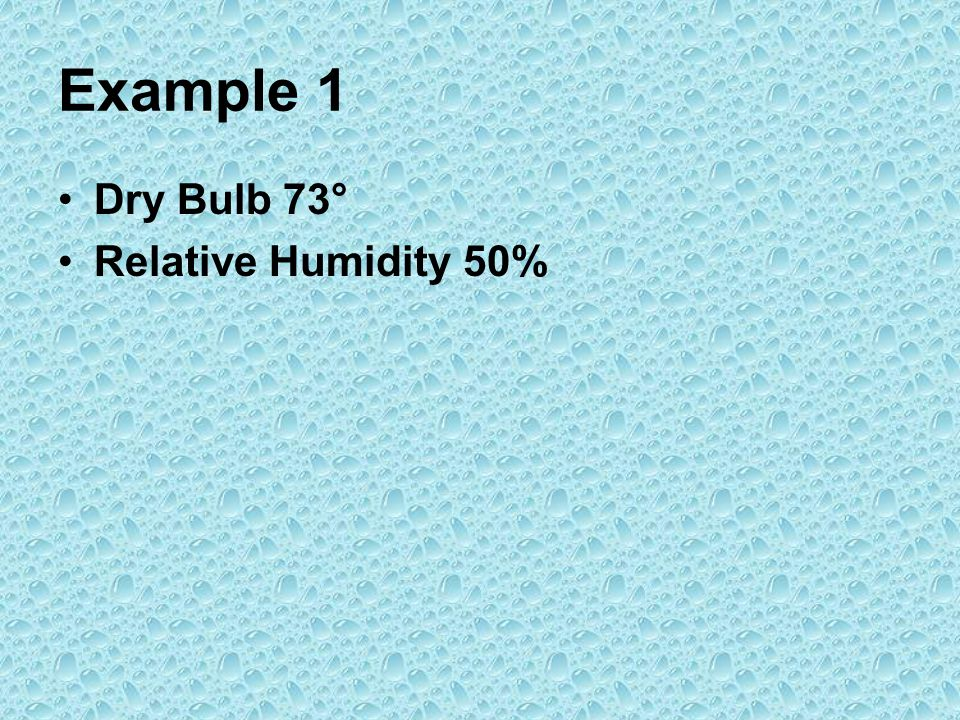 Example 1 Dry Bulb 73° Relative Humidity 50%