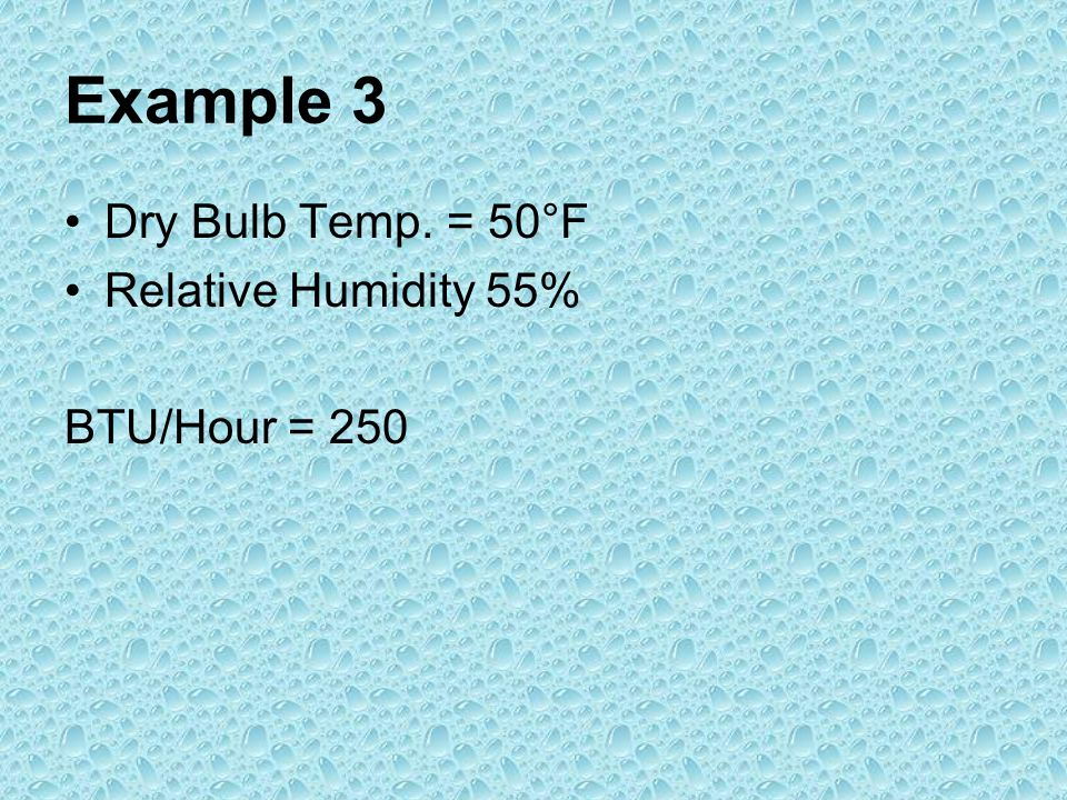 Example 3 Dry Bulb Temp. = 50°F Relative Humidity 55% BTU/Hour = 250