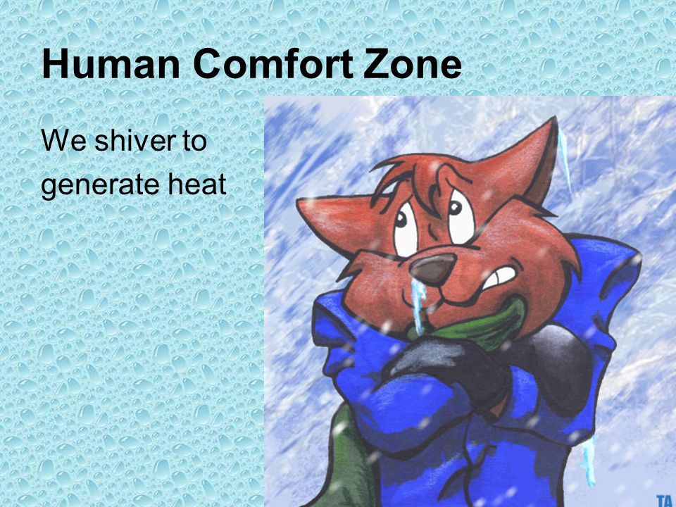 Human Comfort Zone We shiver to generate heat