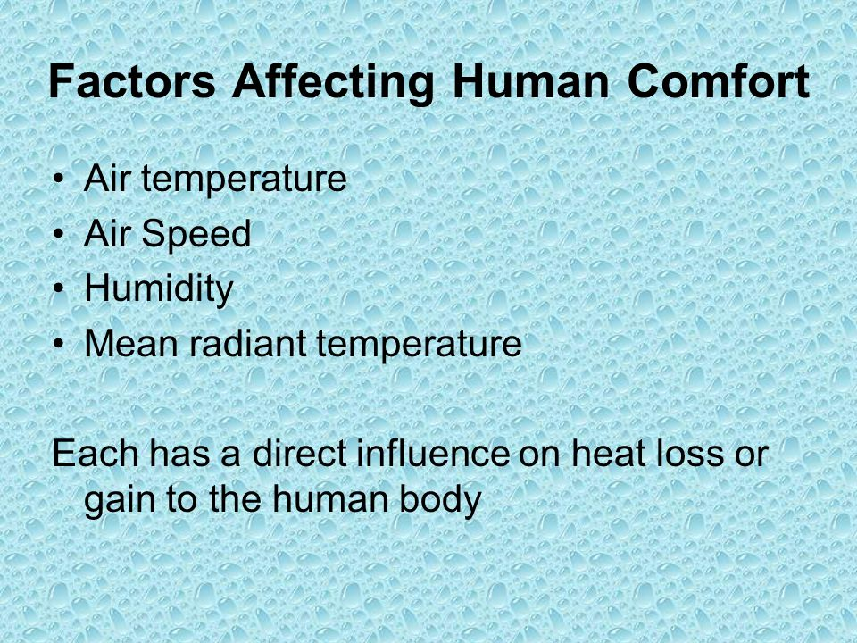 Factors Affecting Human Comfort