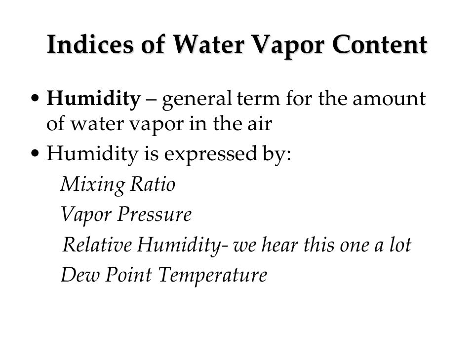 Indices of Water Vapor Content