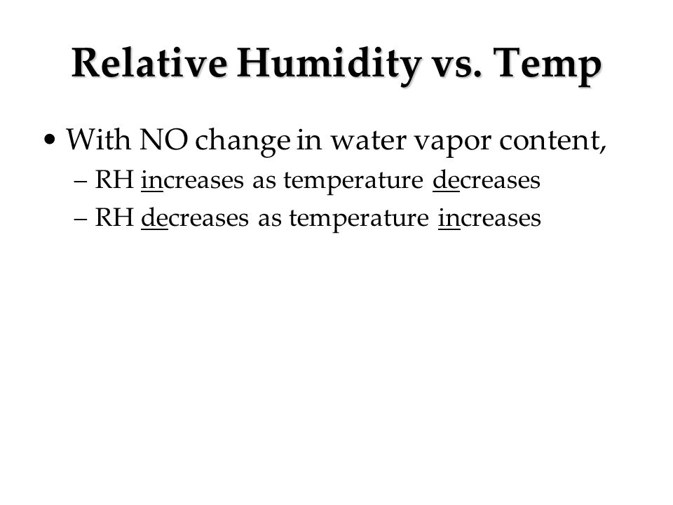 Relative Humidity vs. Temp