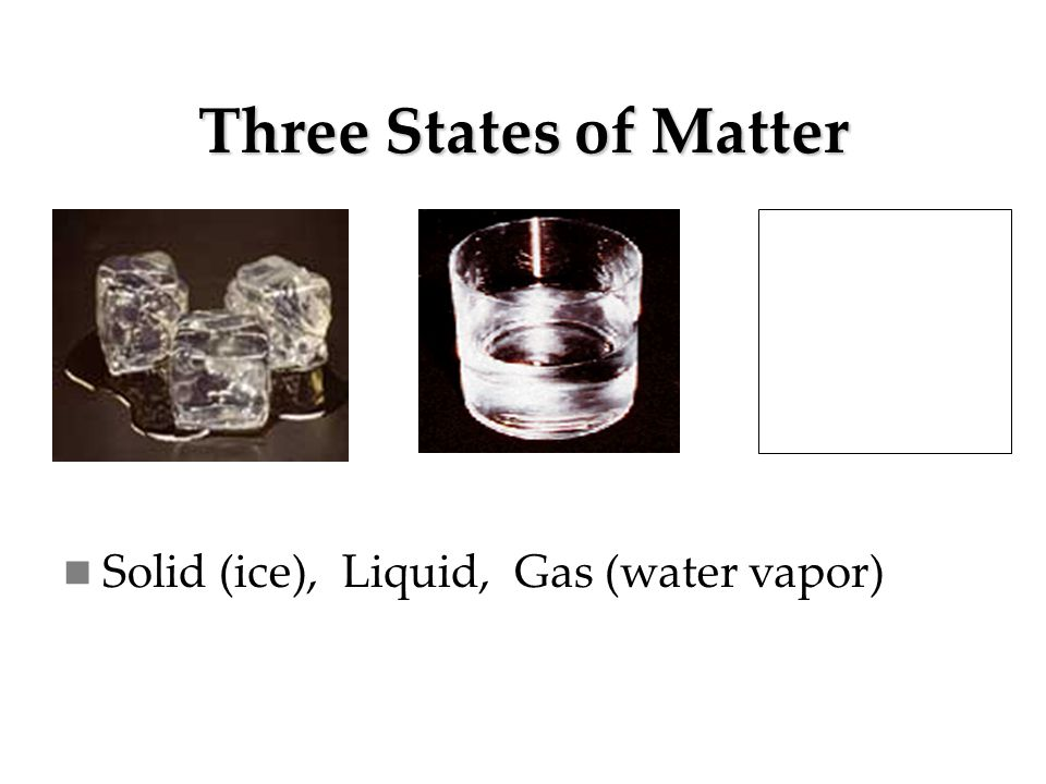 Three States of Matter Solid (ice), Liquid, Gas (water vapor)