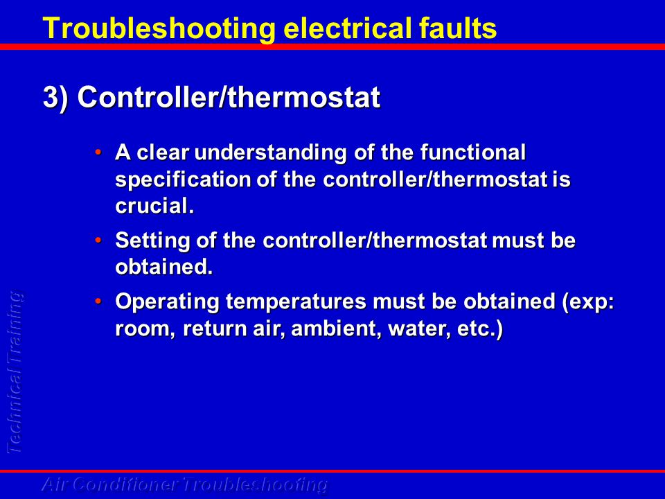 Troubleshooting electrical faults