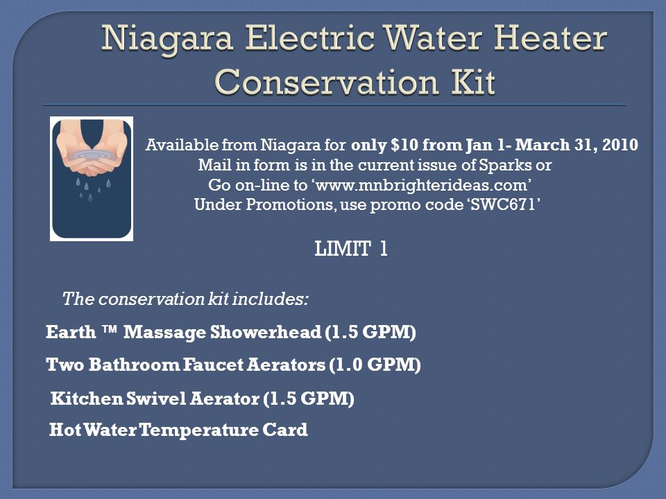 Niagara Electric Water Heater Conservation Kit