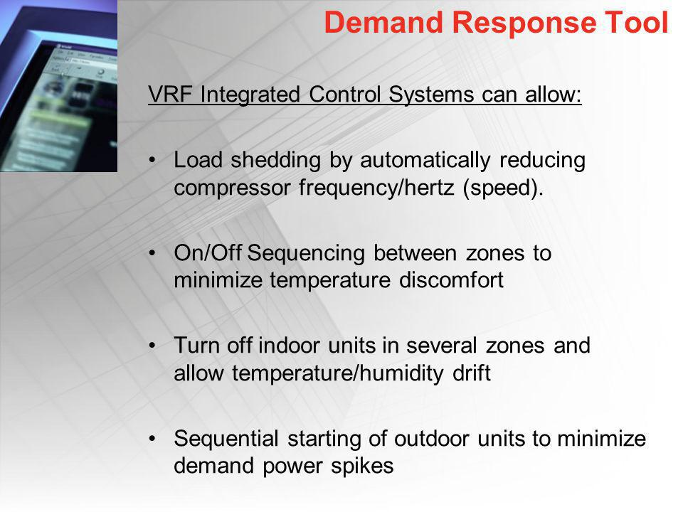 Demand Response Tool VRF Integrated Control Systems can allow: