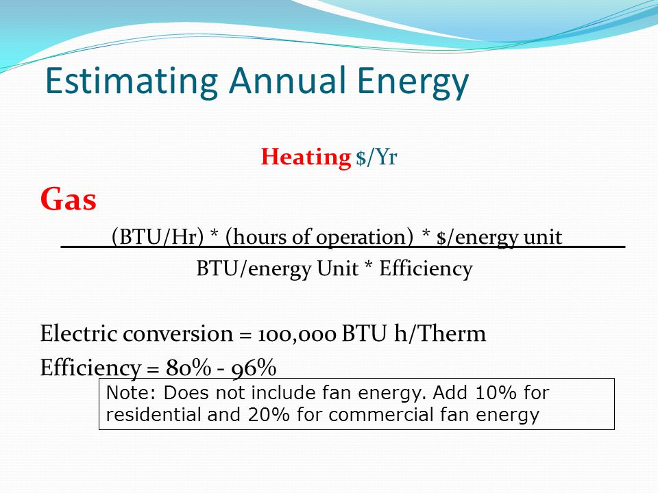 Estimating Annual Energy